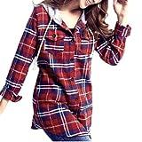SODIAL(R) Camisa a Cuadros Encapuchado para Senora, Rojo S