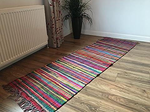 Fair Trade Flat Weave Shabby Chic Multi Coloured Rag Rug