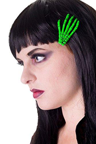 Skelett Hand Haar Clip-Fluorescent Green - Einheitsgröße - Banned
