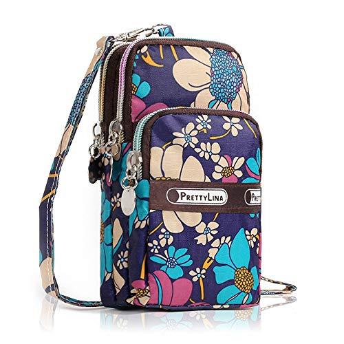 Floral Purse Bag (InSense Mini Fashion Floral Pattern Zipper Sport Shoulder Bag Wrist Purse For iPhone 6S/7Plus 5.5inch (A))