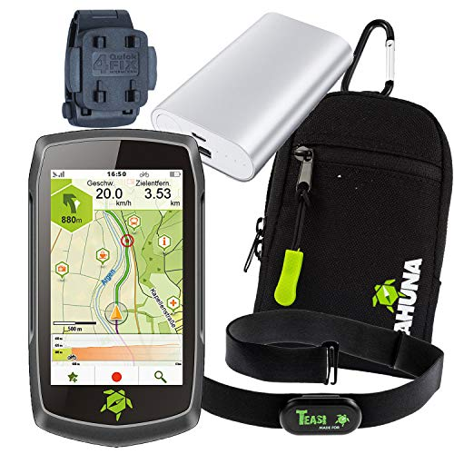 TEASI ONE4 - Fahrrad- & Wandernavi + Rucksack- Gürtel-Clip + USB Netzteil + Schutzfolie + optionales Zubehör (Teasi one4 + Gürtel- und Rucksack-Clip, Herzfrequenz-Sensor + Tahuna Tasche + Powerbank)