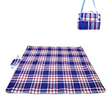 Swify 200*200cm Folding Picnic Blanket Waterproof Backing Picnic Rug Mat with Handle for Beach, Travel, Festival, Camping (Blue&Red)