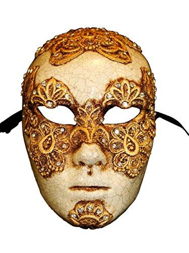 Magic of Venezia Luxus Venezianische Vollgesichts Augen Weit Geschlossen Maske Volto Mac II für Männer (Gold)