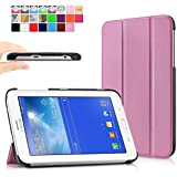 Infiland Samsung Galaxy Tab 3 7.0 Lite Funda Case-Ultra Delgada Tri-Fold Case Cover PU Cuero Cascara con Soporte para Samsung Galaxy Tab 3 7.0 Lite T110 T111 (7 Pulgadas) Tablet