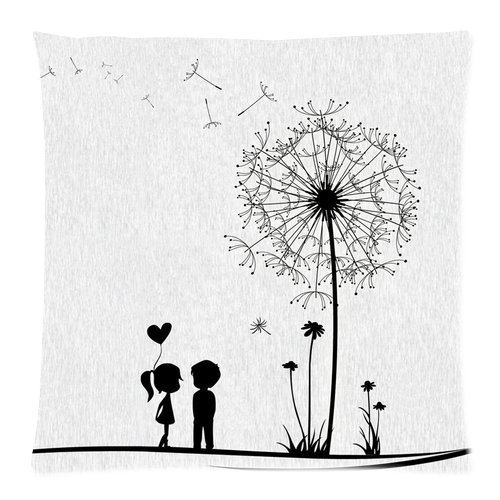 "Black Young Couple Love Kiss Beside Dandelion Fly White Pillow Cushion Case Throw Pillow Covers Pillow Inner Included Soft Bedding 16""x16\"""