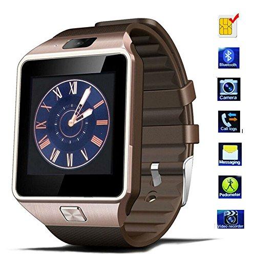Smartwatch, TKSTAR DZ09 Bluetooth Armbanduhr Touchscreen Smart Uhr Telefon Unterstützt SIM & TF Karte Android Smart Watch Sportuhr mit Kamera Call Message Kalender (Gold) Iphone 2g Lcd