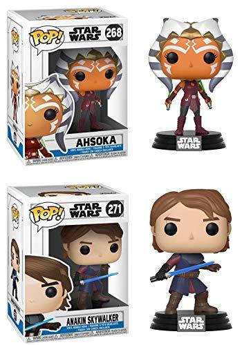 FunkoPOP Star Wars The Clone Wars: Ahsoka + Anakin Skywalker - Stylized Vinyl Figure Bundle Set