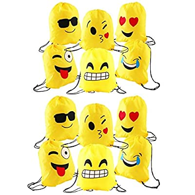 JZK 12pcs Encantador emoji cordón dibujos animados mochila bolsas PE para cumpleaños niños y adultos la fiesta favorece la bolsa, rellenos bolsas fiesta de JZK