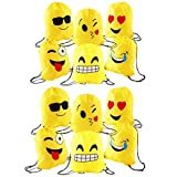 JZK 12 x Schöne Emoji Turnbeutel Sportbeutel Matchbeutel Gymbag mit Kordelzug für Kinder & Erwachsen Geburtstagsparty Bevorzugt Tasche, Partytaschenfüller