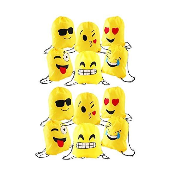 51sTZgfM XL. SS600  - JZK 12pcs Encantador Emoji cordón Dibujos Animados Mochila Bolsas PE para cumpleaños niños y Adultos la Fiesta favorece la Bolsa, Rellenos Bolsas Fiesta