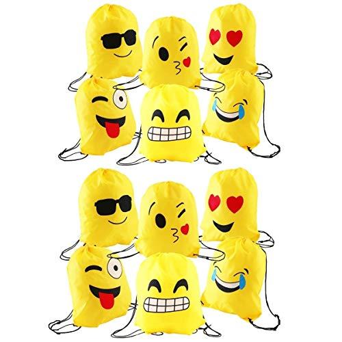 emoji sportbeutel JZK 12 x Schöne Emoji Turnbeutel Sportbeutel Matchbeutel Gymbag mit Kordelzug für Kinder & Erwachsen Geburtstagsparty Bevorzugt Tasche, Partytaschenfüller