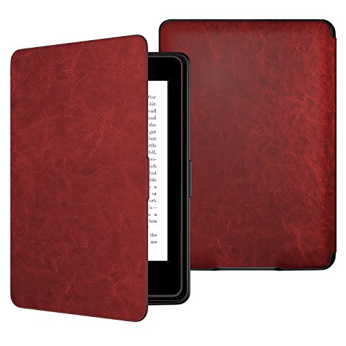 Moko Kindle Paperwhite Hülle - Ultra Leightweight Schutzhülle Smart Cover mit Auto Sleep/Wake Funktion für Amazon Kindle Paperwhite (2016/2015/2013/2012 Modelle mit 6 Zoll Display), Wein Rot