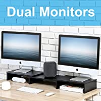 FITUEYES Wood Dual Monitor Stand Swivel & Length Adjustable Screen Riser for Computer TV Laptop