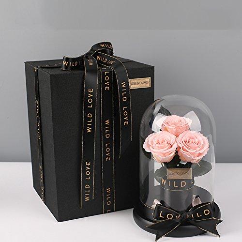 Douce rose,Boîte de cadeau en verre Boîte de cadeau fleur éternelle Fleurs artificielles Le jour de noël Anniversaire Décorations de réception-C
