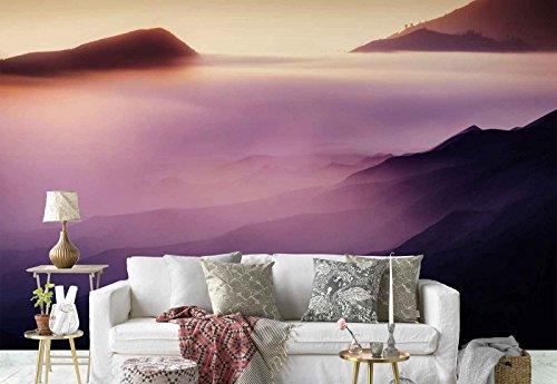 Vlies Fototapete Fotomural - Wandbild - Tapete - Hügel Berge Peaks Nebel Textur - Thema Texturen und Effekte - MUSTER - 104cm x 70.5cm (BxH) - 1 Teilig - Gedrückt auf 130gsm Vlies - 1X-929760VEM - Textur-nebel