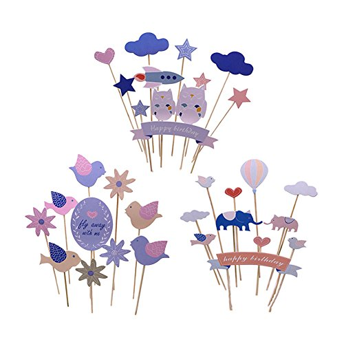 Designerbox 3 Stück/Set ausgewählten Kombination Happy Birthday Cake Topper Picks, Ballon-Elefant + Blume Vogel + Luftschiff Eule, perfekt Hochzeit Geburtstag Kuchen Party Supplies