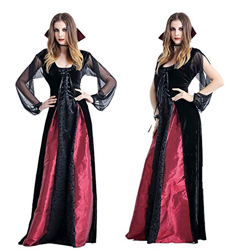 CWZJ Weibliche Vampire Viktorianischen Vampir Long Halloween Vampire Hexe Zombie-Anzug Queen Long Rock Queen Weibliche Kaiser Cosplay Maskerade Kostüm Schwarz,XL