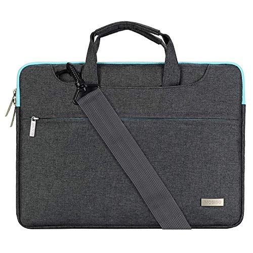 MOSISO Laptop Umhängetasche Kompatibel 13-13,3 Zoll MacBook Pro Retina/MacBook Air/Surface Laptop/Surface Book, Polyester Aktentasche Messenger Schultertasche mit Rückengurt Trolly Case, Grau