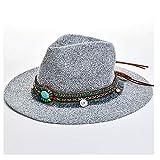 KCBYSS Moda Verano Boho Style Mujeres Sun Hat Lady Broad Brim Jazz Hat Sombrero con Paja Vintage Hat Diskette Sun Beach Church Cap (Color : Gris, tamaño : 56-58CM)