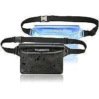 TOMSHOO Bolsa Impermeable de La Cintura [2 Unidades] de PVC para Navegación Natación en Playa o Camping al Aire Libre (Negro Opaco + Azul Transparente)