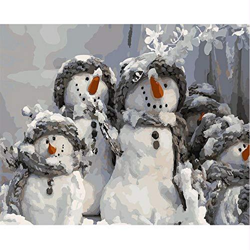 zlxzlx (Kein Rahmen) DIY Digital Malen Nach Zahlen Paket Karotte Nase Schneemann Ölgemälde Wandbild Kits Färbung Wandkunst Bild Geschenk