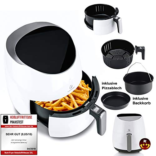NUTRI-FRYER 2.0 Heißluftfritteuse XXL 2000W Power Airfryer 4.5L Groß | Cool Touch, Filter, Digital, Timer | Krosse Pommes Fritteuse ohne Fett & Öl | Pizzablech + Backform & Rezepte
