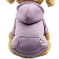 Idepet Dog Cat Hoodie Pet Warm Autumn Winter Coat Solid Color Cotton Dog Clothes with Pocket Outdoor Pullover Dog Jumpsuit for Small Dogs Puppy Schnauzer Teddy Poodle Chihuahua (L, Purple)