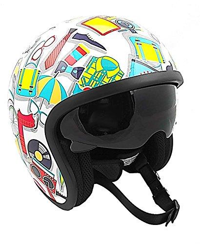 KENROD casque de moto ouvert | Jet Sprint Modern | Lunettes de soleil intégrées | CE approuvé | Multicolore