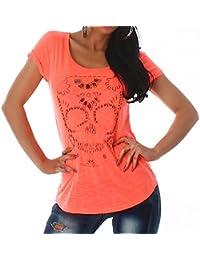 Jela London T-Shirt avec strass tête de mort Taille unique
