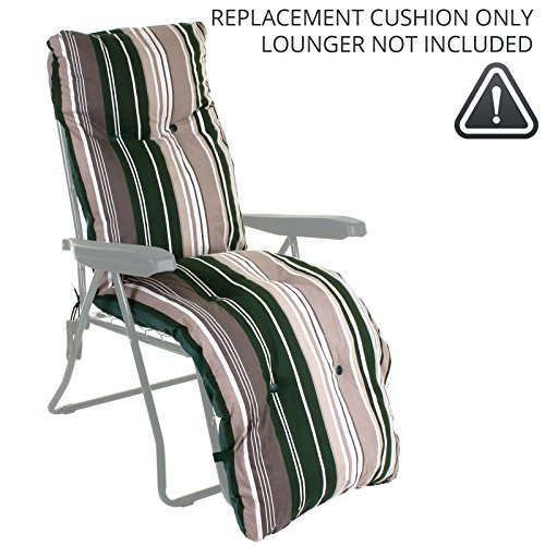 Sun Lounger Reclining Recliner Chairs Outdoor Garden Patio Relaxer with Cushion (Replacement Cushion ONLY, Green Stripes)