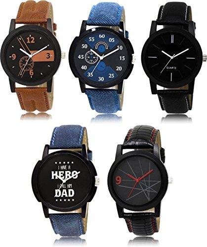 SVM LK-12578 Latest Multicolor Set of 5 for Men and Boys Watch - for Men