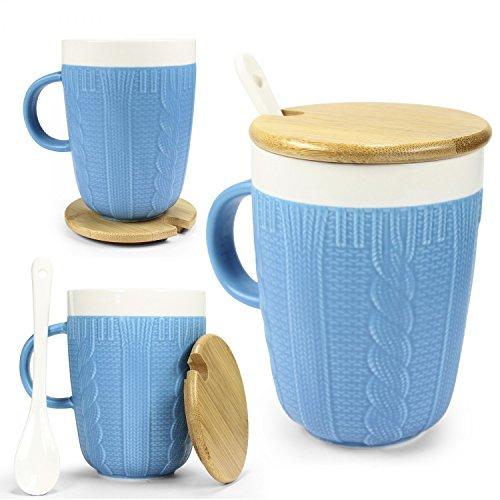 Tasse in Strickoptik mit Keramik Löffel & Echt-Holz Deckel - für optimale Thermoeigenschaften von...