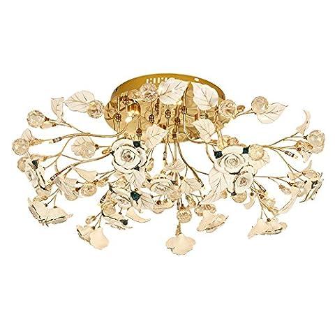 Ceramic Petals LED Crystal Ceiling Light Living Room Bedroom