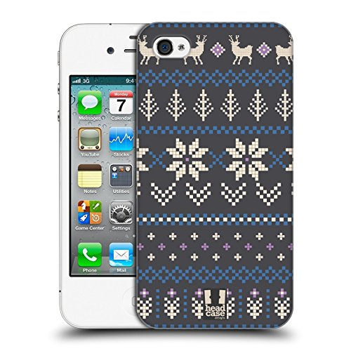 Head Case Designs Weiss Fair Isle Winter Muster Ruckseite Hülle für Apple iPhone 5 / 5s / SE Blau Und Grau