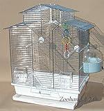 Vogelkäfig,Wellensittichkäfig,Exotenkäfig,60 cm Vogelkäfig Super Trouper Vogelbauer Wellensittich Kanarien Voliere Vogelhaus Käfig IZA 2 II in weiß + 3x GRATIS