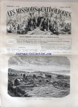 MISSIONS CATHOLIQUES (LES) [No 261] du 05/06/1874 - CONGO - SITUATION ET ETENDUE GEOGRPAHIQUES - PARIS - CONSTANTINOPLE - COREE - AFRIQUE CENTRALE - ZANZIBAR - LA QUESTION ARMENIENNE ET LE TRAITE DE PARIS - DE HAKODATE A YOKOHAMA - L'EPISCOPAT CATHOLIQUE ET L'OEUVRE DE LA PROPAGATION DE LA FOI - LE TOMBEAUDE SAINT SABAS