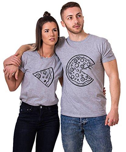 Pärchen T-Shirts Set Shirts für Paar Partner Look Baumwolle Liebhaber Pizza Tshirt (Grau-Herr-M+Dame-M)