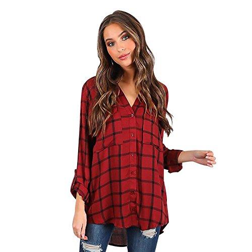 Hansee Frauen Langarm Gitter Gedruckt Karierten Tops Lässige Umlegekragen Ernte Taste Tasche T-Shirt Bluse (L) (Baumwolle-button-down-shirt Seide)