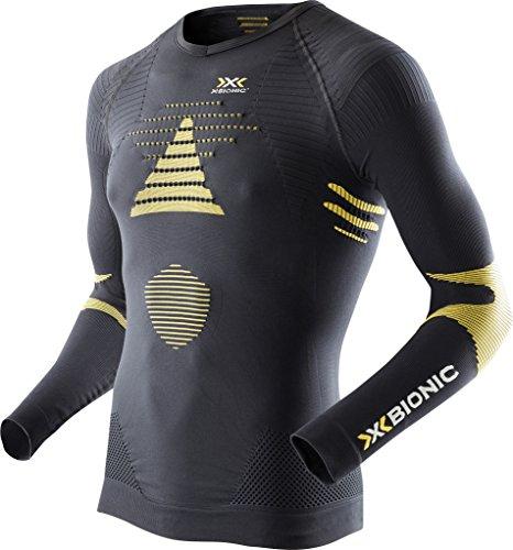 X-Bionic Herren Ski TOURING_EVO Man UW Shirt LG_SL. V-Neck Unterwäsche, Black/Yellow Sunshine, XXL