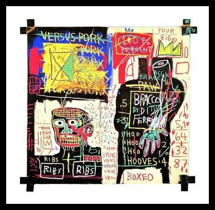 Germanposters Jean-Michel Basquiat Poster Kunstdruck Bild The Italian Version of Popeye Has no Pork in his Diet 1982 im Alu Rahmen schwarz 76x76cm - Kunst Basquiat Michel Jean