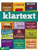 Klartext Sprüche - Wochenplaner 2020, Wandkalender im Hochformat (25x33 cm) - Typografie Wochenkalender mit Rätseln und Sudoku auf der Rückseite - Ackermann Kunstverlag