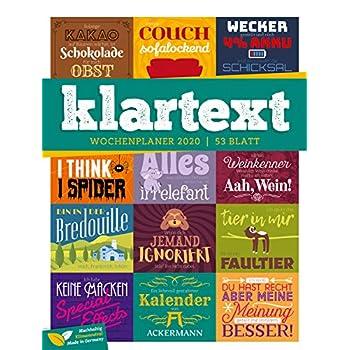 Klartext Sprüche - Wochenplaner 2020, Wandkalender im Hochformat (25x33 cm) - Typografie Wochenkalender mit Rätseln und Sudoku auf der Rückseite