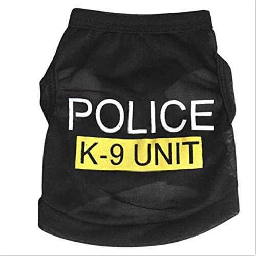 Generic Pet Dog Puppy Cat Summer Clothes Jacket Hoodie Police Vest Costume Coat - black, S