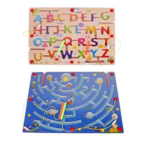 MagiDeal Hölzerne Puzzle Spiele Labyrinth Magnet Stift - Alphabet + Neun Planeten Puzzle, Kinder Motorik Spielzeug (Puzzle Magnet-labyrinth)