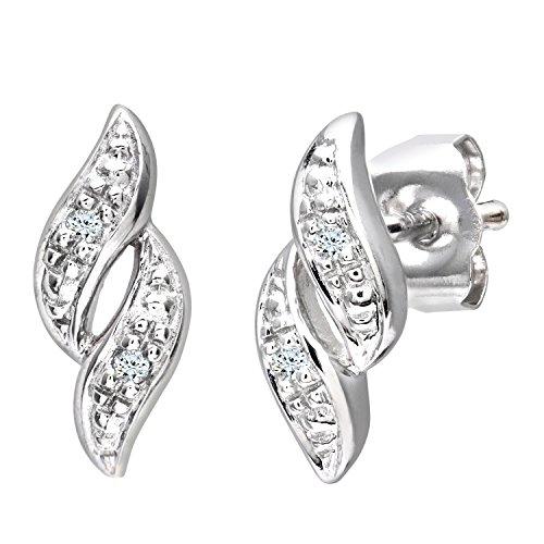 Naava Pendientes para Mujer de Oro Blanco 9K con 4 Diamantes