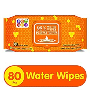 Bey Bee Paraben Free Hypoallergenic Baby Water Wipes for New Born Babies with Lid/Fliptop ([ 1 Pack 80 Wipes], Water Based)