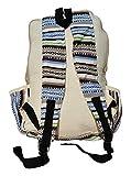 Handgemachter Rucksack / Daypack / Backpack aus natürlichem Hanf mit Laptop-Tasche - UNISEX - MADE IN NEPAL (Blue Stripes) - 3