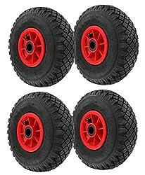 4 Stück Luft Rad Bollerwagen-Set Mit 4 PR Lagieg für Achse 20 mm Bollerwagen-rad 260 mm Kunststoff-Felge Sackkarren-rad mit Lager Reifen