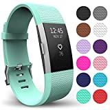 Yousave Accessories FitBit Charge 2 Strap Band - Replacement Silicone Sport Wristband for the FitBit Charge 2 – One to Ten Packs and 12 Colours Available (Small - Single Pack, Mint Green)