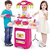 Baybee Battery Operated Kitchen Play Set For Kids With Roll Play Kitchen Set Carry Case, With Led Lights & Sound (Multi Color)